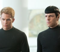 Kirk (Chris Pine) and Spock (Zachary Quinto) in black