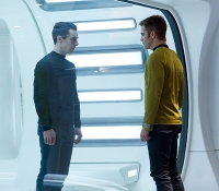 John Harrison (Benedict Cumberbatch) and Capt. James T. Kirk (Chris Pine) face off in the brig