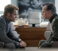Capt. Kirk (Chris Pine) and Christopher Pike (Bruce Greenwood) have a heart-to-heart