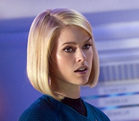 Dr. Carol Marcus (Alice Eve) and Capt. James T. Kirk (Chris Pine) share a tense moment