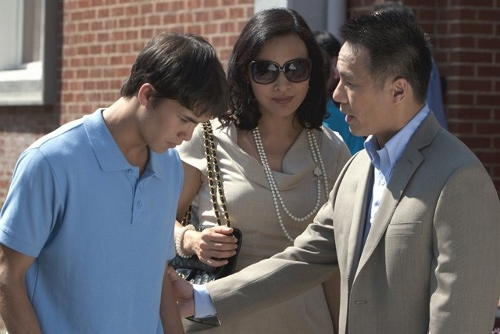 Booboo Stewart, Joan Chen and B.D. Wong in a family moment in 'White Frog'