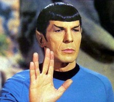 Leonard Nimoy giving the Vulcan hand salute on 'Star Trek'