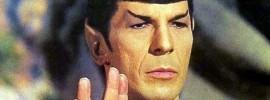 Leonard Nimoy giving the Vulcan hand salute on 'Star Trek'