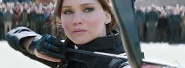 Jennifer Lawrence poised to shoot an arrow in 'The Hunger Games: Mockingjay - Part 2'